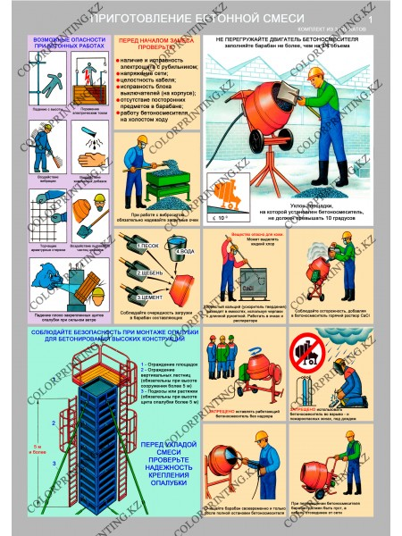 Безопасность бетонных работ на стройплощадке комплект из 3 плакатов